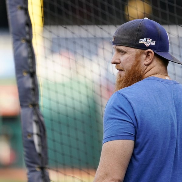 Justin Turner of the Los Angeles Dodgers takes batting practice before Game Four of the National League Divisional Series against the Washington Nationals at Nationals Park on Oct. 7, 2019. (Credit: Patrick McDermott/Getty Images)