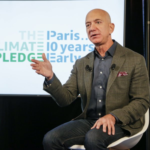 Amazon CEO Jeff Bezos announces the co-founding of The Climate Pledge at the National Press Club in Washington, D.C. on Sept. 19, 2019. (Credit: Paul Morigi/Getty Images for Amazon)