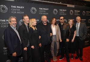 "Warren Leight, Peter Scanavino, Kelli Giddish, Dick Wolf, Marishka Hargitay, Ice-T, Julie Martin and Michael Starr attend the ""Law & Order: SVU"" Television Milestone Celebration at The Paley Center for Media on Sept. 25, 2019, in New York City. (Credit: Dimitrios Kambouris/Getty Images)"
