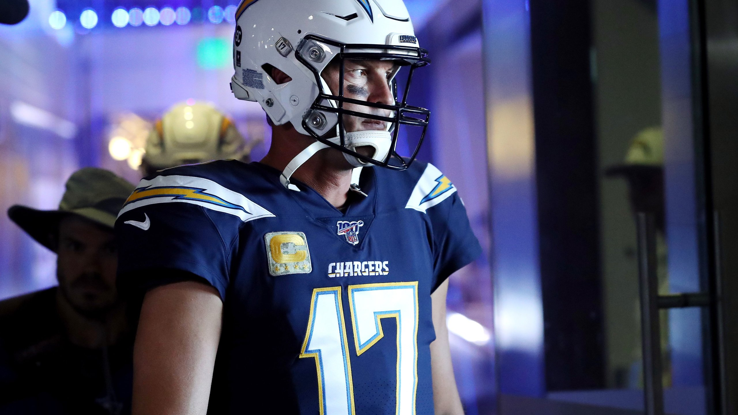 Philip Rivers the Los Angeles Chargers walks to the field before the game against the Green Bay Packers at Dignity Health Sports Park on Nov. 3, 2019 in Carson. (Credit: Sean M. Haffey/Getty Images)