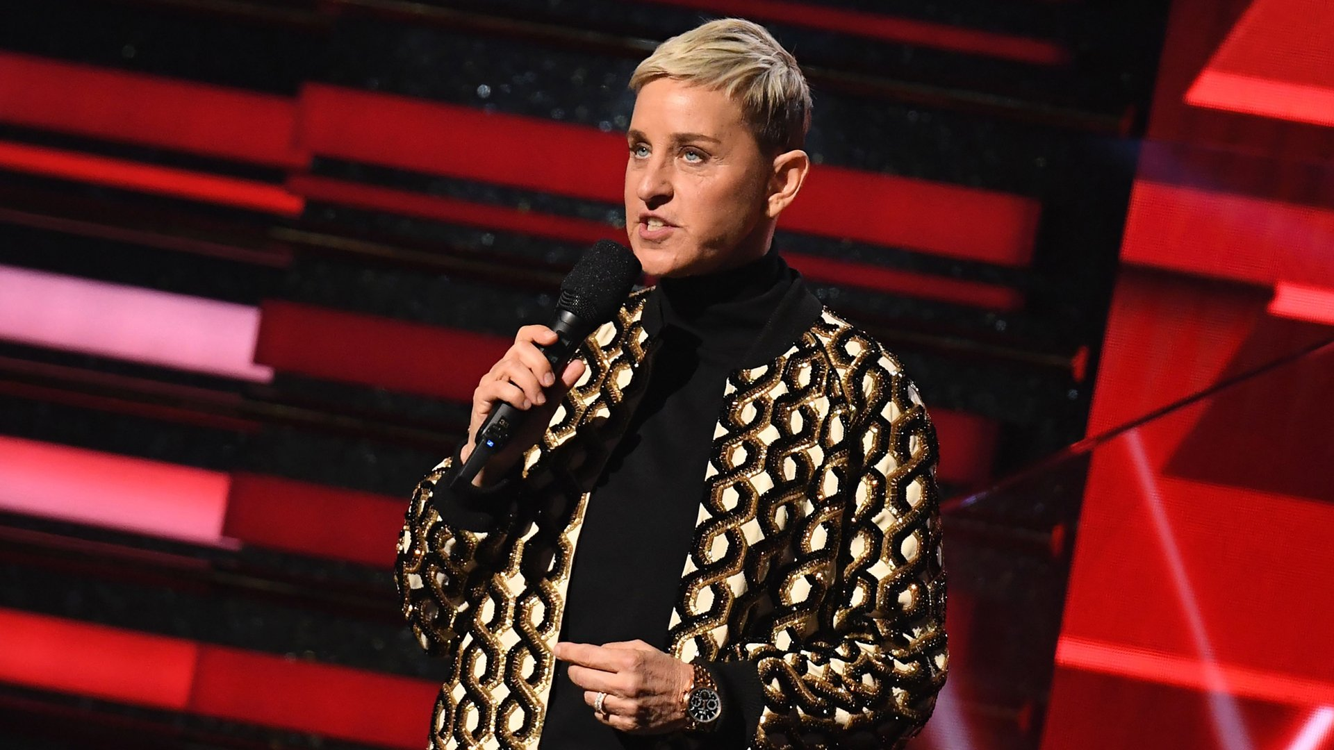 Ellen DeGeneres speaks during the 62nd Annual Grammy Awards on Jan. 26, 2020, in Los Angeles. (Credit: Robyn Beck/AFP via Getty Images)