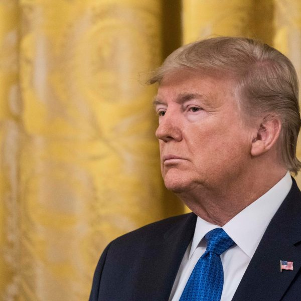 """President Donald Trump attends the """"White House Summit on Human Trafficking: The 20th Anniversary of the Trafficking Victims Protection Act of 2000"""" event in the East Room of the White House on January 31, 2020 in Washington, DC. (Credit: Sarah Silbiger/Getty Images)"""
