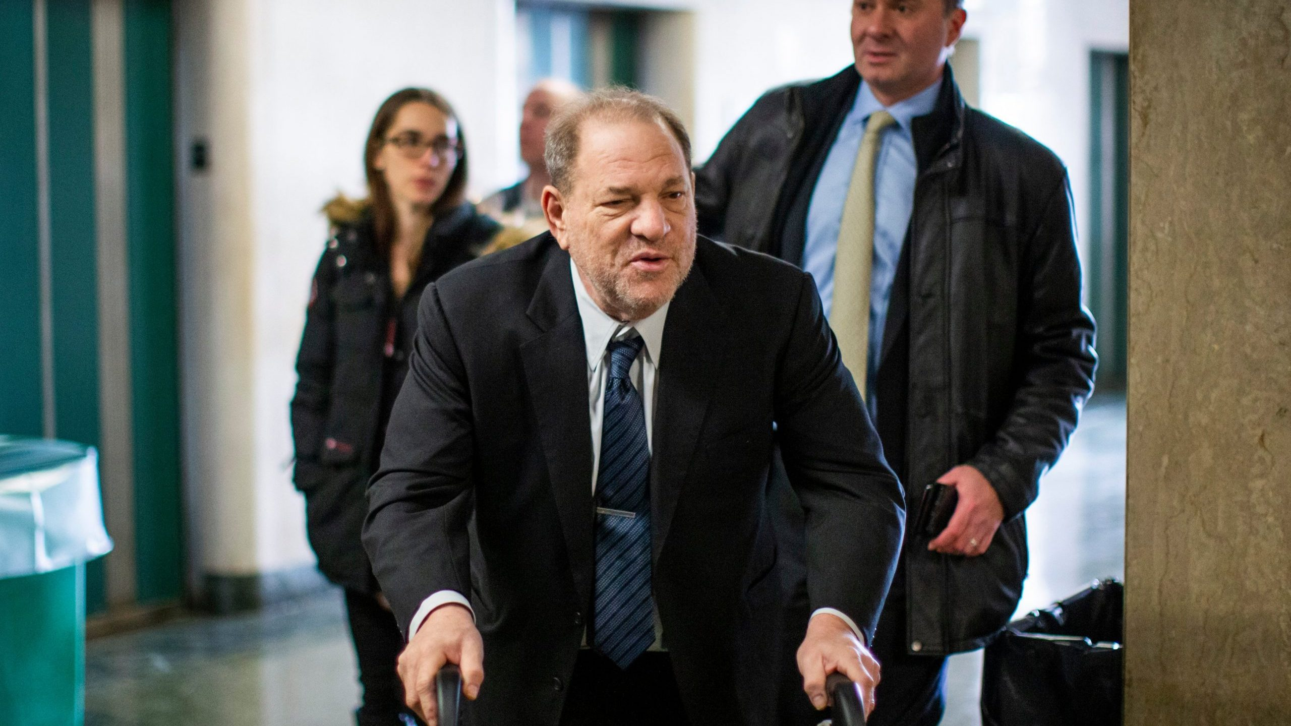 Disgraced film producer Harvey Weinstein arrives at the courtroom for his sexual assault trial at Manhattan criminal court on Feb. 3, 2020. (Credit: Eduardo Munoz Alvarez/Getty Images)