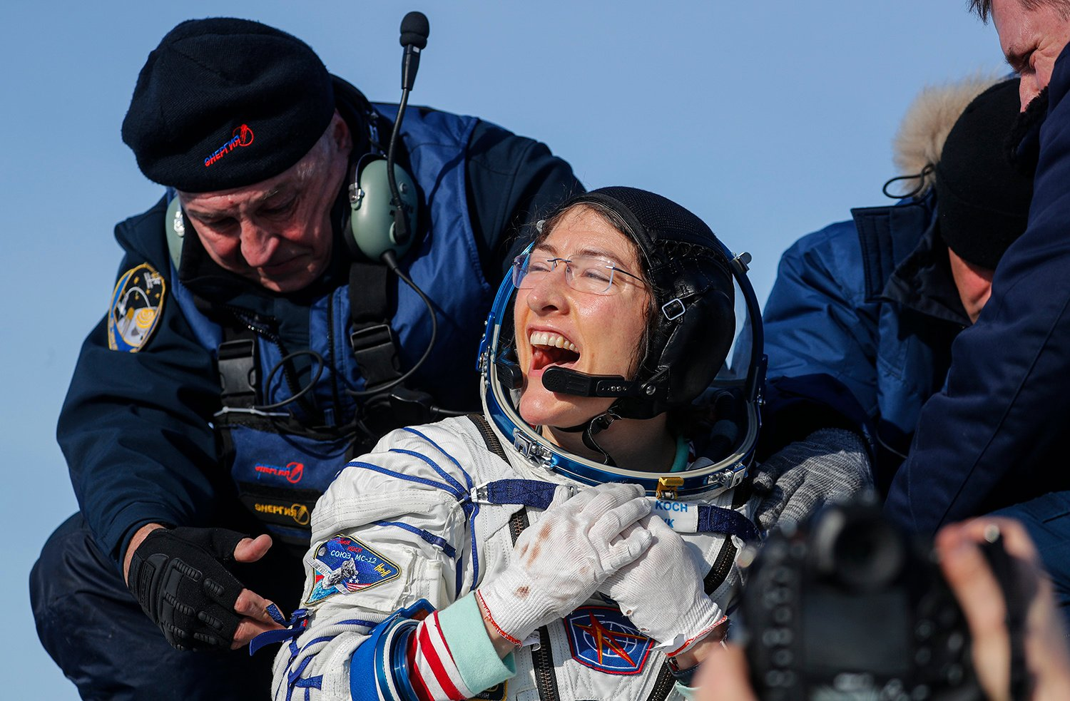 NASA astronaut Christina Koch reacts shortly after landing in a remote area outside the town of Dzhezkazgan (Zhezkazgan), Kazakhstan, on February 6, 2020. (Credit: SERGEI ILNITSKY/POOL/AFP via Getty Images)