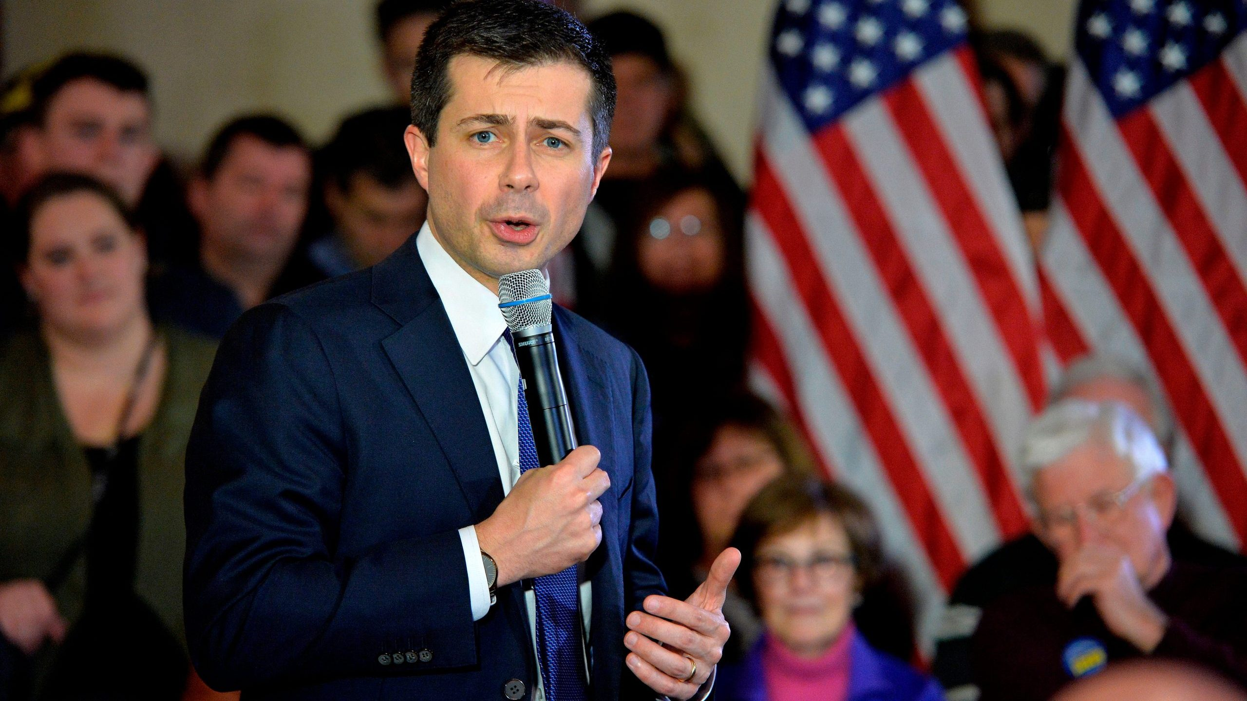 US Presidential Candidate and former South Bend, Indiana mayor Pete Buttigieg speaks to veterans and members of the public at a town hall event at the American Legion Post 98 in Merrimack, New Hampshire on February 6, 2020. (Credit: JOSEPH PREZIOSO/AFP via Getty Images)
