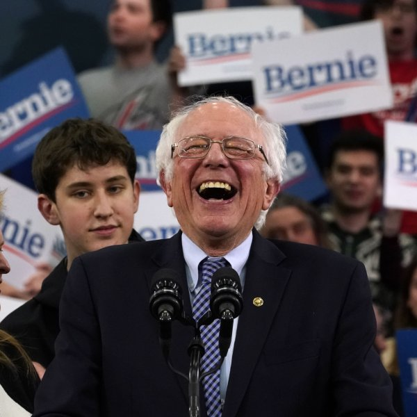 Democratic presidential hopeful Vermont Senator Bernie Sanders speaks at a Primary Night event at the SNHU Field House in Manchester, New Hampshire on February 11, 2020. (Credit: TIMOTHY A. CLARY/AFP via Getty Images)