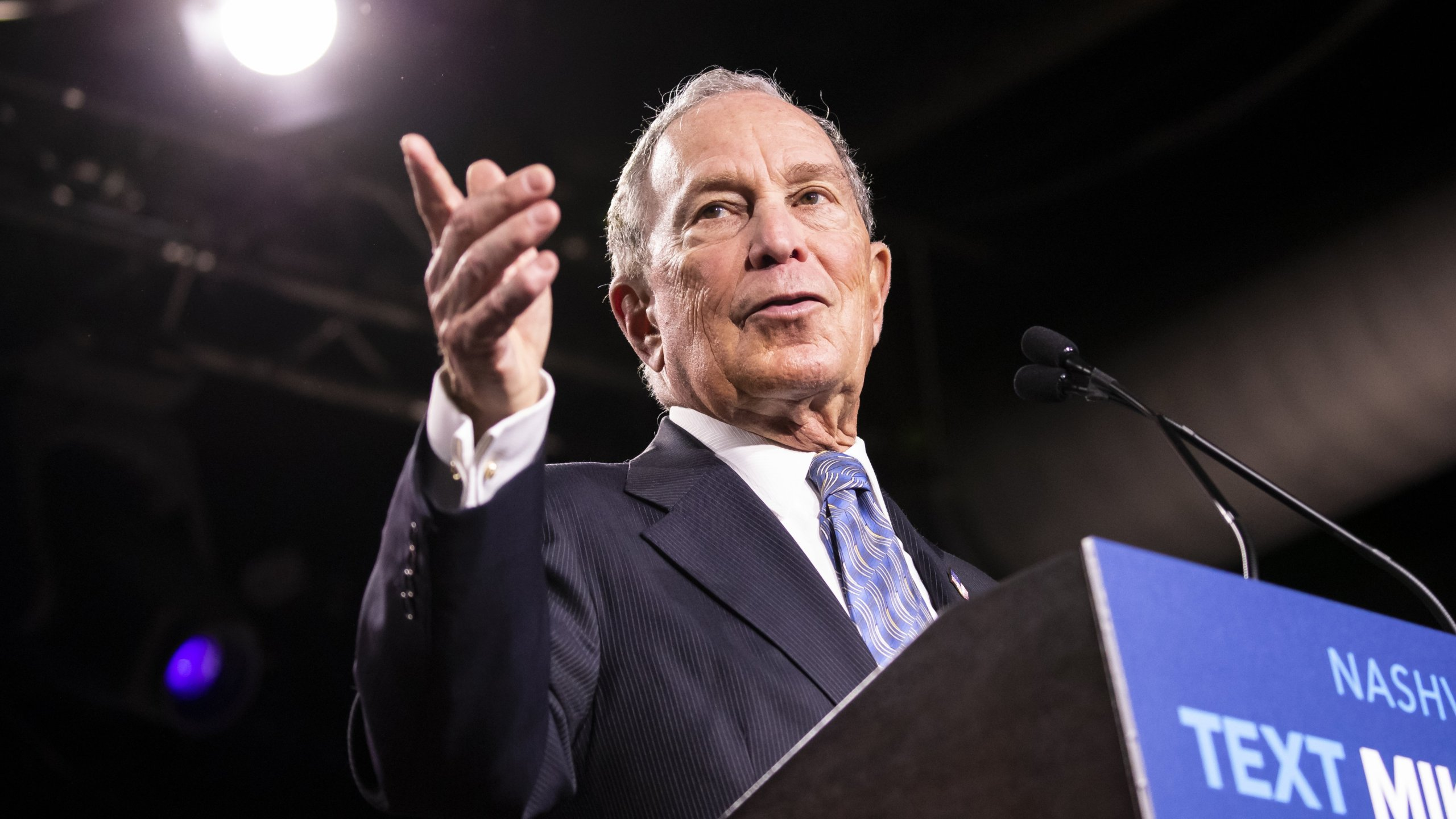 Democratic presidential candidate former New York City Mayor Mike Bloomberg delivers remarks during a campaign rally on February 12, 2020 in Nashville, Tennessee. (Credit: Brett Carlsen/Getty Images)