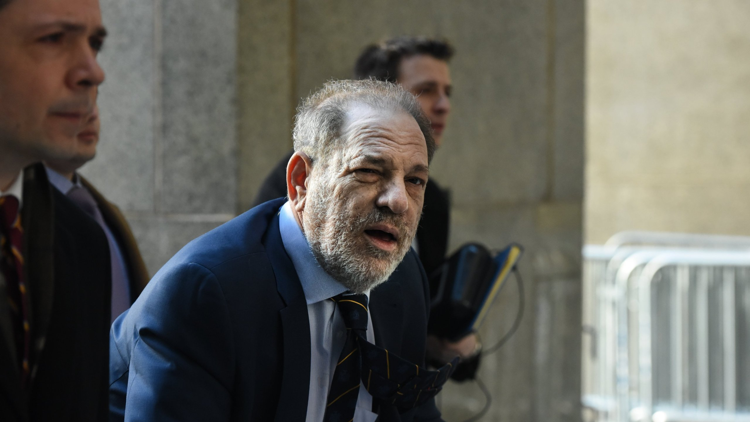 Movie producer Harvey Weinstein arrives for his sexual assault trial at New York Criminal Court on Feb. 14, 2020, in New York City. (Credit: Stephanie Keith/Getty Images)