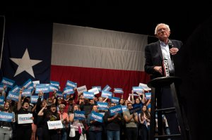 Democratic presidential hopeful Vermont Sen. Bernie Sanders speaks during a rally at the Abraham Chavez Theater on Feb. 22, 2020, in El Paso, Texas. (Credit: PAUL RATJE/AFP via Getty Images)