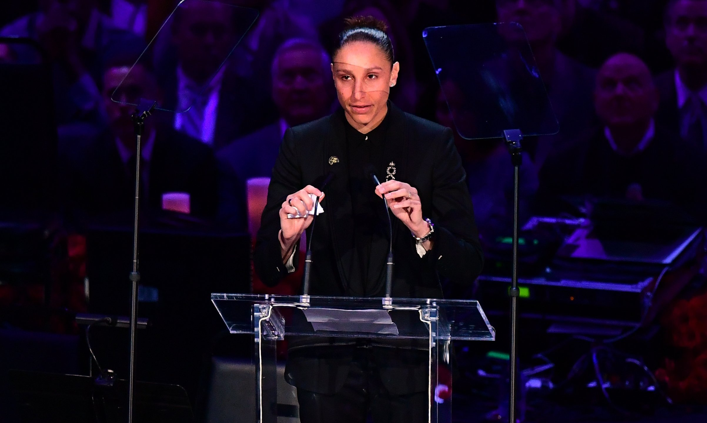 "US basketball player Diana Taurasi speaks during the ""Celebration of Life for Kobe and Gianna Bryant"" service at Staples Center on Feb. 24, 2020. (Credit: FREDERIC J. BROWN/AFP via Getty Images)"
