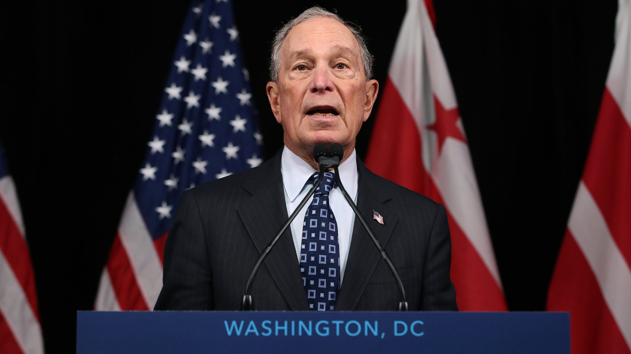 Democratic presidential candidate Michael Bloomberg speaks about affordable housing during a campaign event where he received an endorsement from District of Columbia Mayor, Muriel Bowser, on Jan. 30, 2020, in Washington, DC. (Credit: Mark Wilson/Getty Images)