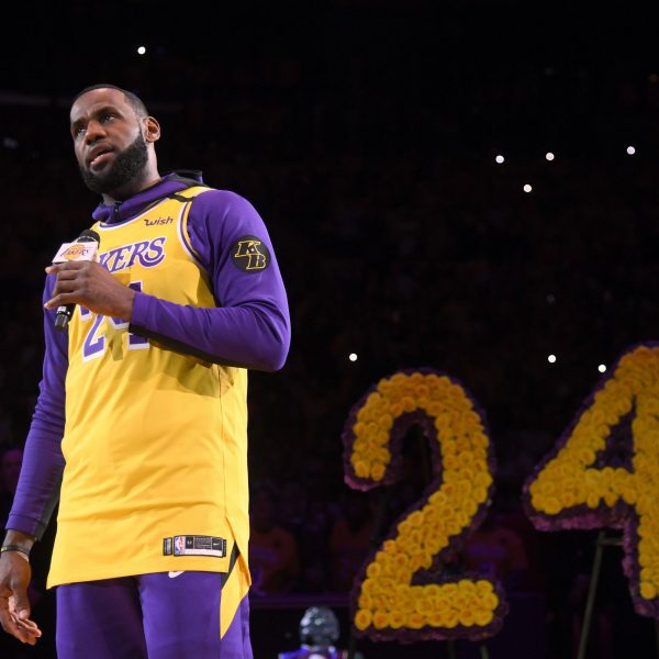 LeBron James speaks during the Los Angeles Lakers pregame ceremony to honor Kobe Bryant at Staples Center on Jan. 31, 2020. (Credit: Harry How/Getty Images)