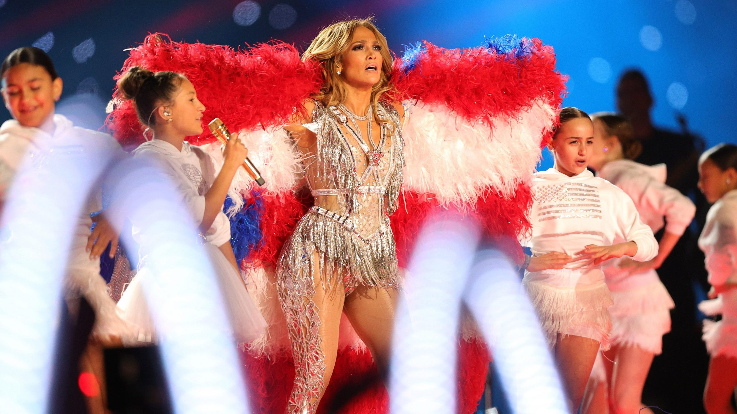 Jennifer Lopez performs with her daughter Emme Maribel Muñiz during the Pepsi Super Bowl LIV Halftime Show at Hard Rock Stadium on Feb. 2, 2020, in Miami, Florida. (Credit: Tom Pennington / Getty Images)