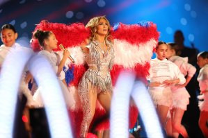 Jennifer Lopez performs with her daughter Emme Maribel Muñiz during the Pepsi Super Bowl LIV Halftime Show at Hard Rock Stadium on Feb. 2, 2020, in Miami, Florida. (Credit: Tom Pennington / Getty Images)