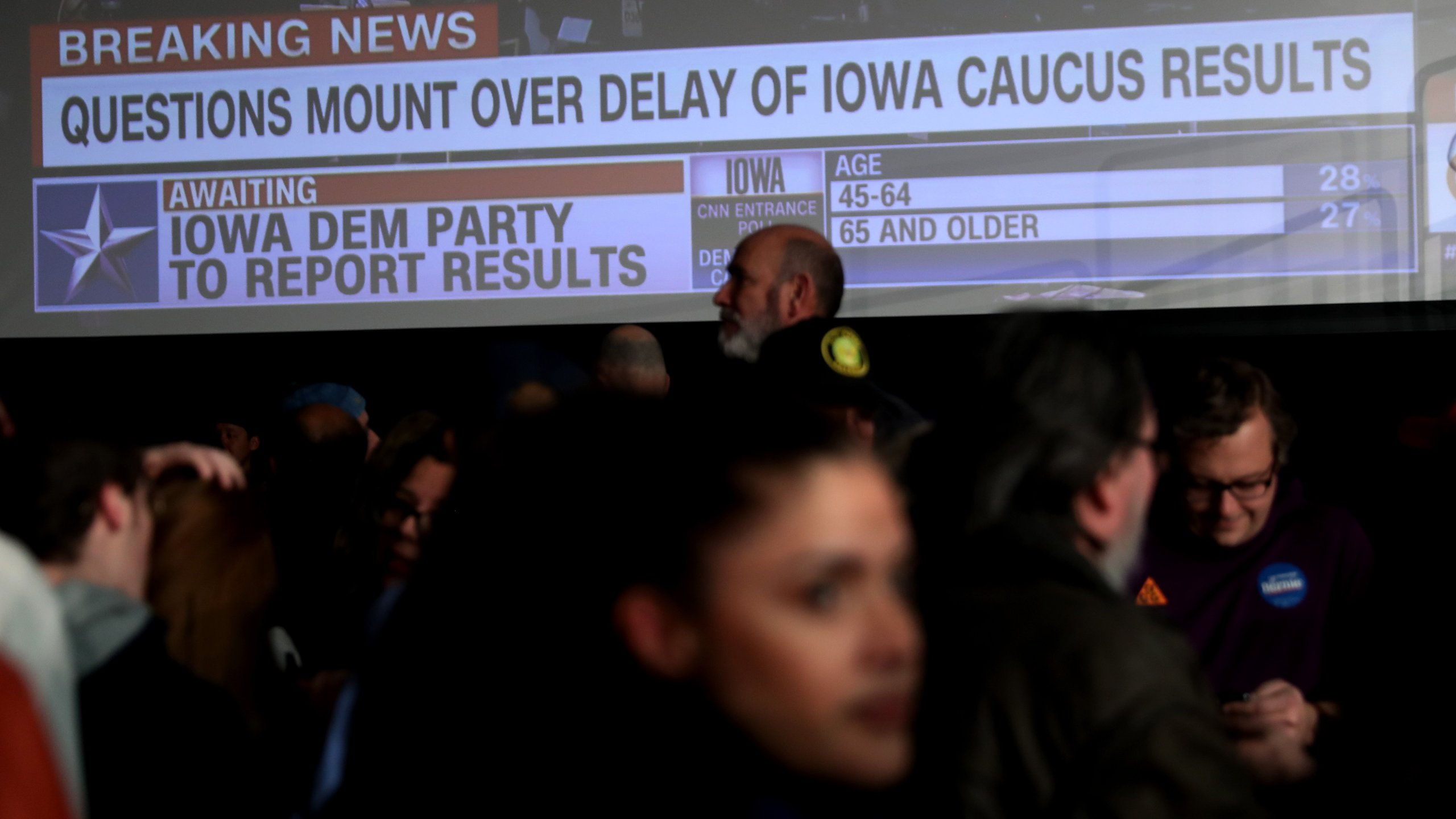 Supporters of Sen. Bernie Sanders (I-VT) wait for results to come in at his caucus night watch party on Feb. 3, 2020 in Des Moines, Iowa. (Credit: Joe Raedle/Getty Images)