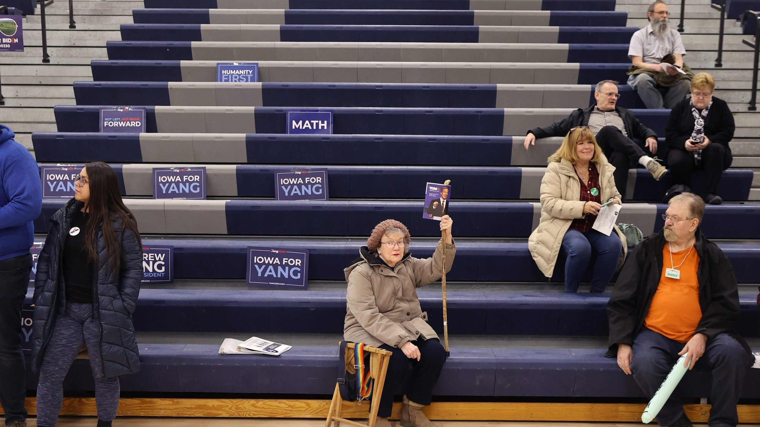 Supporters of Democratic presidential candidate Tom Steyer prepare to caucus at Roosevelt High School Feb. 03, 2020 in Des Moines, Iowa. (Credit: Chip Somodevilla/Getty Images)