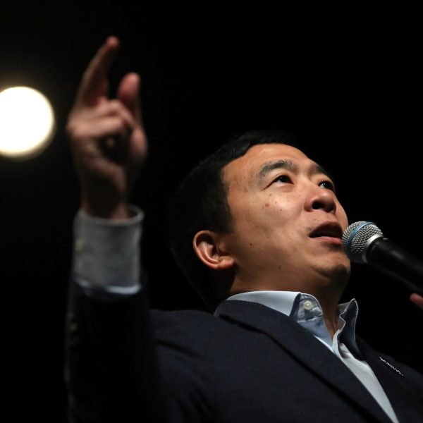 Democratic presidential candidate Andrew Yang speaks during a campaign event in Keene, New Hampshire on Feb. 5, 2020. (Credit: Justin Sullivan/Getty Images)
