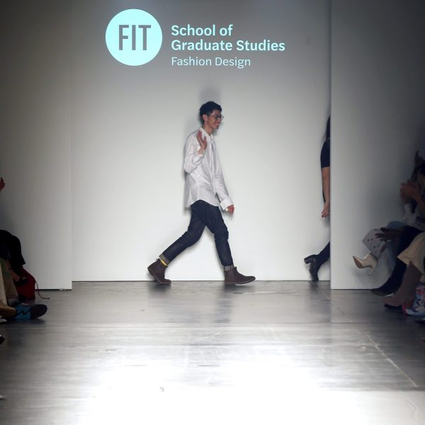 Designers walk the runway during the Fashion Institute Of Technology's Fine Art Of Fashion And Technology Show at Pier 59 Studios on Feb. 7, 2020, in New York, New York. (Credit: Bennett Raglin/Getty Images for Fashion Institute Of Technology)
