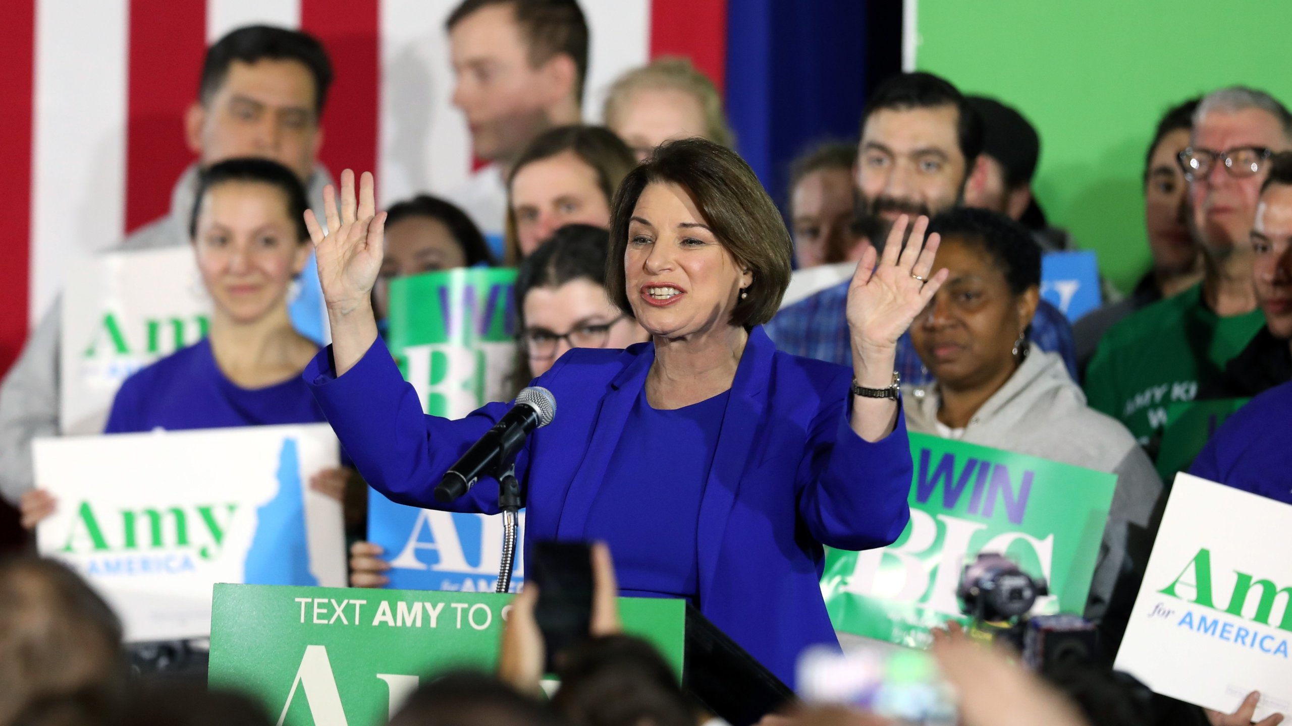 Democratic presidential candidate Sen. Amy Klobuchar speaks on stage during a primary night event on Feb. 11, 2020, in Concord, New Hampshire. (Credit: Scott Eisen/Getty Images)
