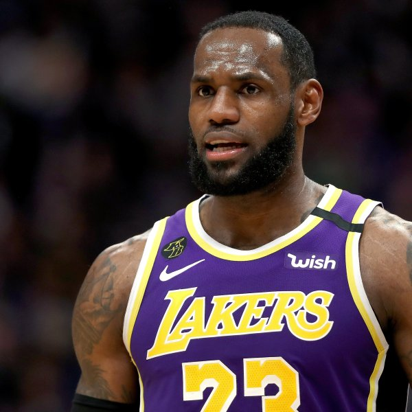 Laker LeBron James plays against the Denver Nuggets in Denver, Colorado, on Feb. 12, 2020. (Credit: Matthew Stockman / Getty Images)