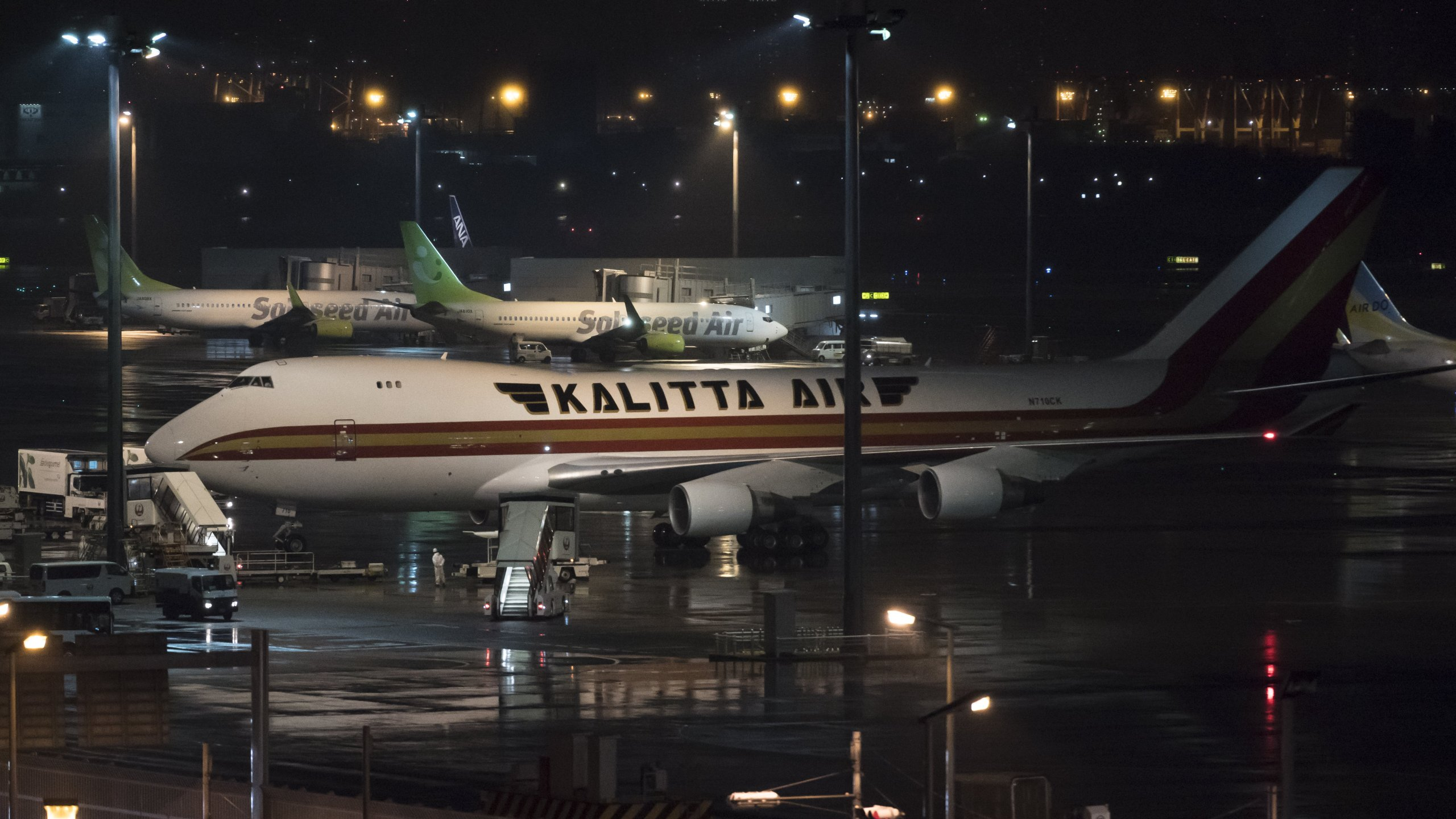 A Kalitta Air passenger aircraft, chartered by the U.S. government, arrives at Haneda airport on Feb. 16, 2020 in Tokyo, Japan. The U.S. has become the first country to offer to repatriate citizens on the Diamond Princess cruise ship while it remains quarantined in Yokohama Port due to the coronavirus outbreak. (Credit: Photo by Tomohiro Ohsumi/Getty Images)