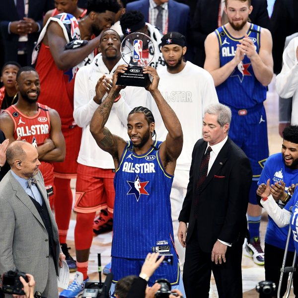 Kawhi Leonard of Team LeBron celebrates with the trophy after being named the Kobe Bryant MVP during the 69th NBA All-Star Game at the United Center on Feb. 16, 2020 in Chicago, Illinois. (Credit: Stacy Revere/Getty Images)