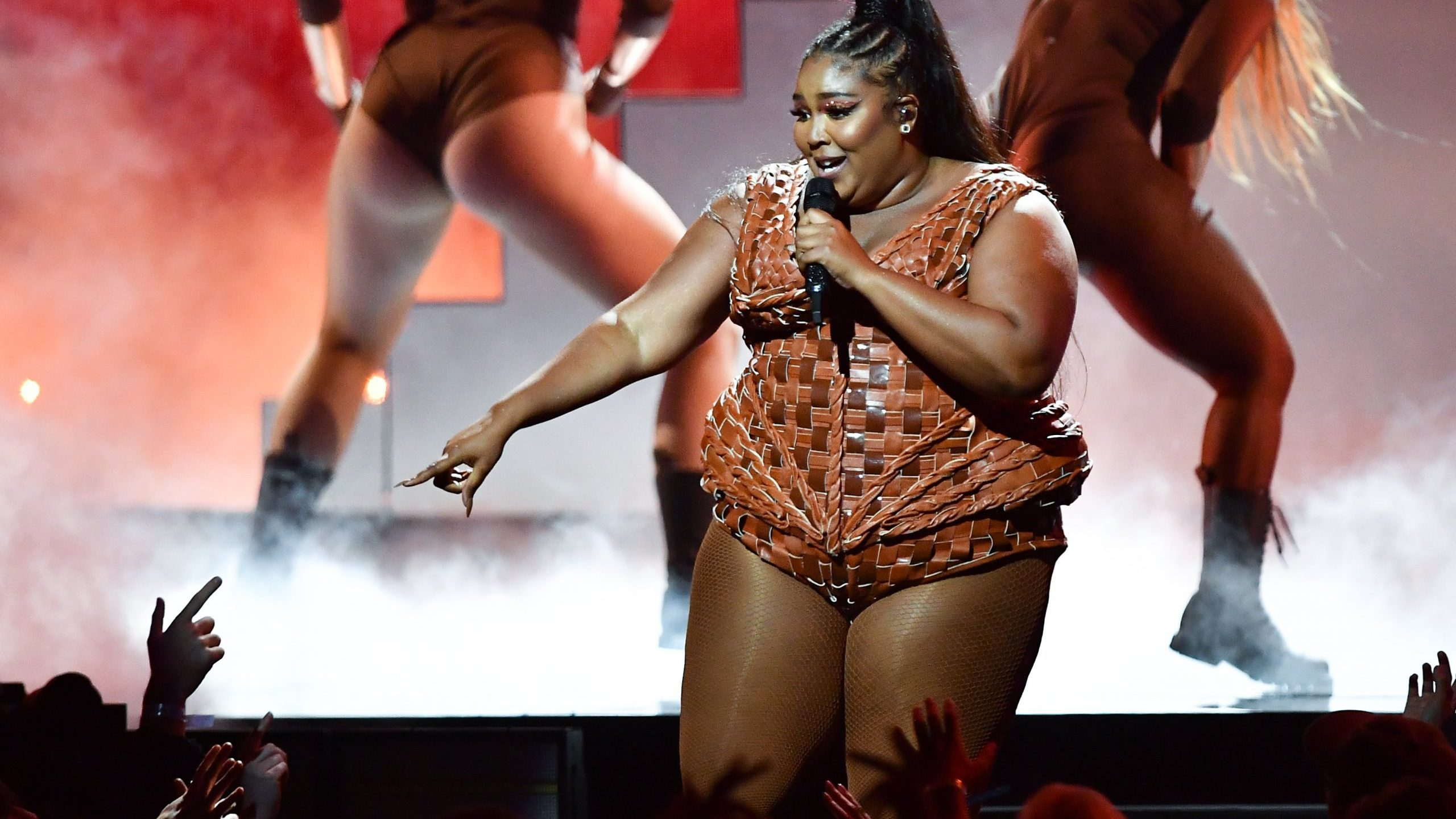 Lizzo performs during the BRIT Awards 2020 at the O2 Arena on Feb. 18, 2020 in London, England. (Gareth Cattermole/Getty Images)