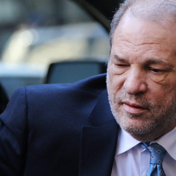 Harvey Weinstein enters a Manhattan court house as a jury continues with deliberations in his trial on Feb. 24, 2020, in New York City. (Spencer Platt/Getty Images)