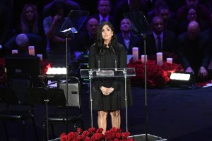 Vanessa Bryant speaks during the Celebration of Life for Kobe and Gianna Bryant at Staples Center on February 24, 2020. (Credit: Kevork Djansezian/Getty Images)