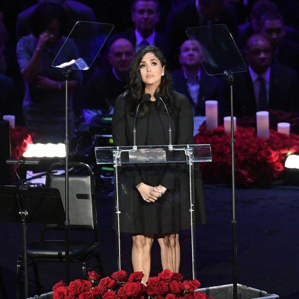 Vanessa Bryant speaks during the Celebration of Life for Kobe and Gianna Bryant at Staples Center on Feb. 24, 2020. (Kevork Djansezian/Getty Images)
