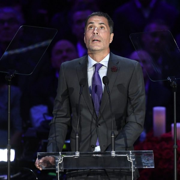 Los Angeles Lakers General Manager Rob Pelinka speaks during a memorial service for Kobe and Gianna Bryant at the Staples Center on Feb. 24, 2020. (Credit: Kevork Djansezian/Getty Images)