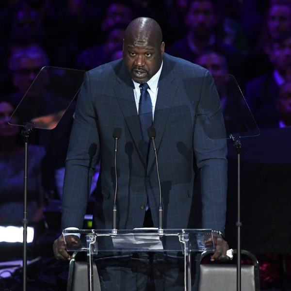 Shaquille O'Neal speaks during The Celebration of Life for Kobe and Gianna Bryant at Staples Center on Feb. 24, 2020, in Los Angeles, California. (Credit: Kevork Djansezian/Getty Images)