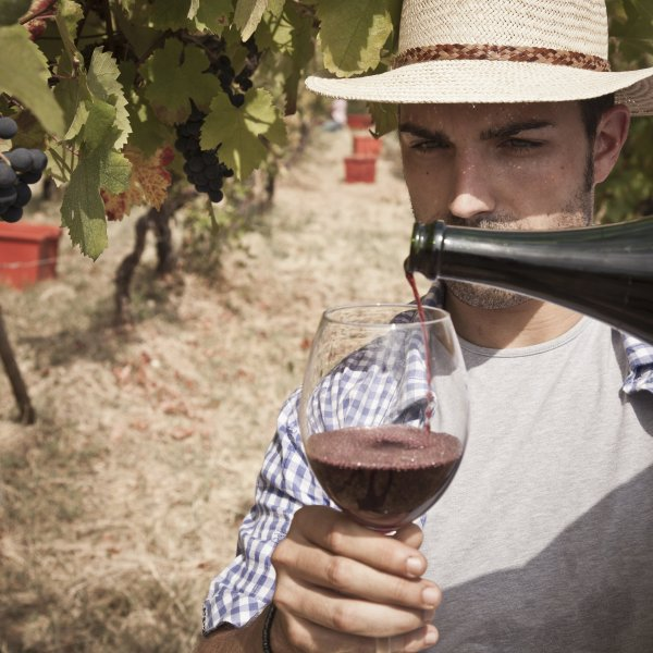 A man pours a glass of wine at a vineyard in Tuscany. (Credit: Buena Vista Images/Getty Images)