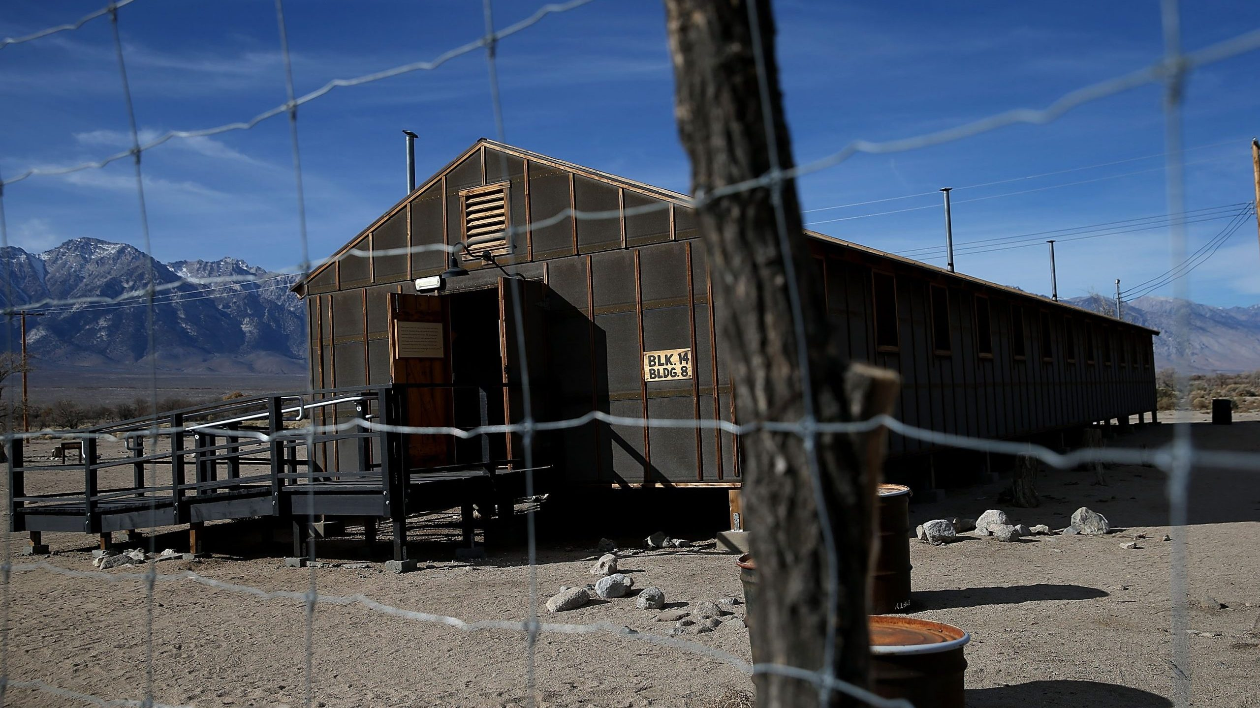 A replica of internment camp barracks stands at Manzanar National Historic Site on Dec. 9, 2015, near Independence, Calif. (Credit: Justin Sullivan/Getty Images)