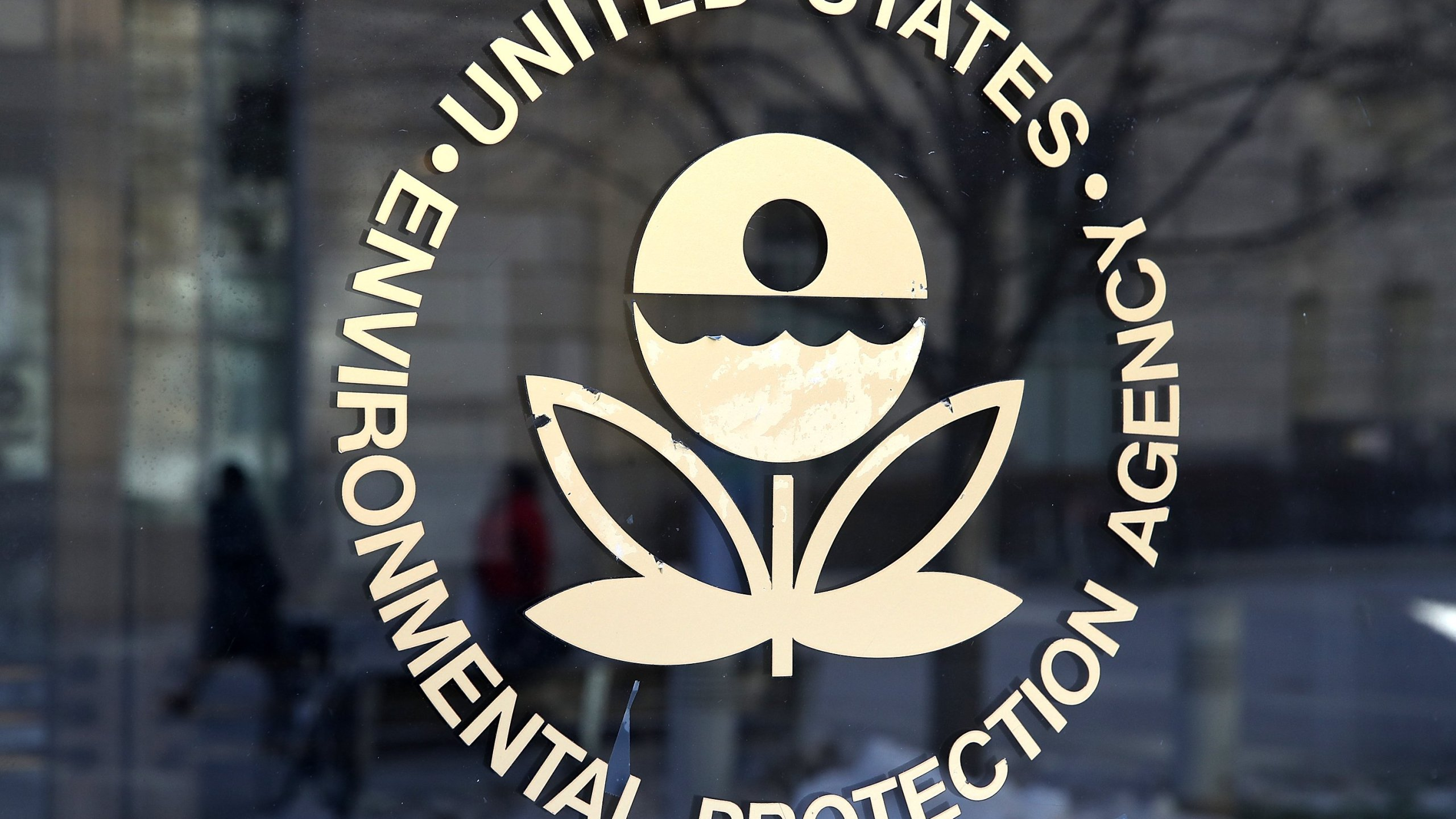The U.S. Environmental Protection Agency's (EPA) logo is displayed on a door at its headquarters on March 16, 2017 in Washington, DC. (Justin Sullivan/Getty Images)