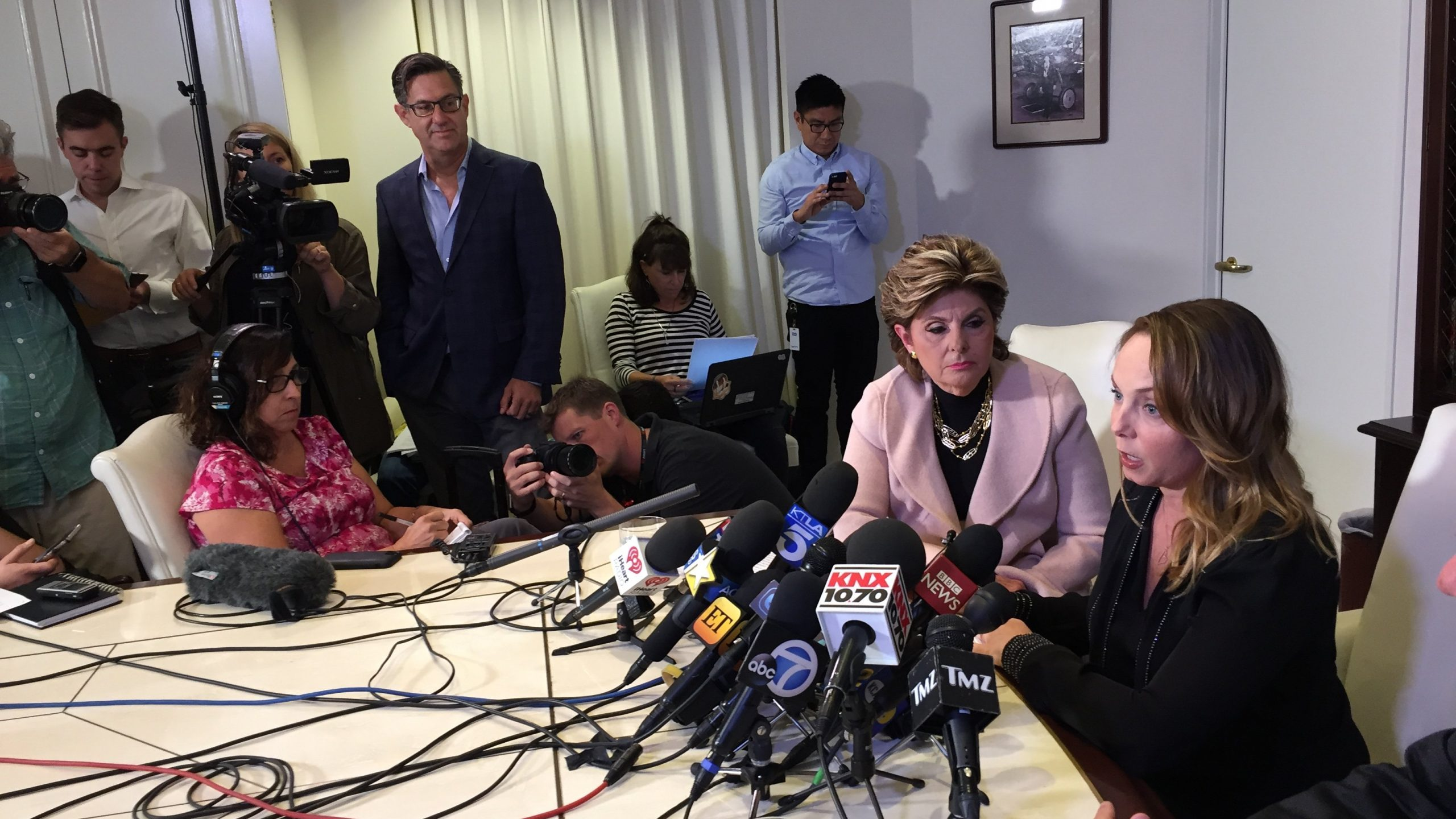 Former actress and screenwriter Louisette Geiss speaks at a press conference with lawyer Gloria Allred on Oct. 10, 2017, in Los Angeles. (Credit: JAVIER TOVAR/AFP via Getty Images)