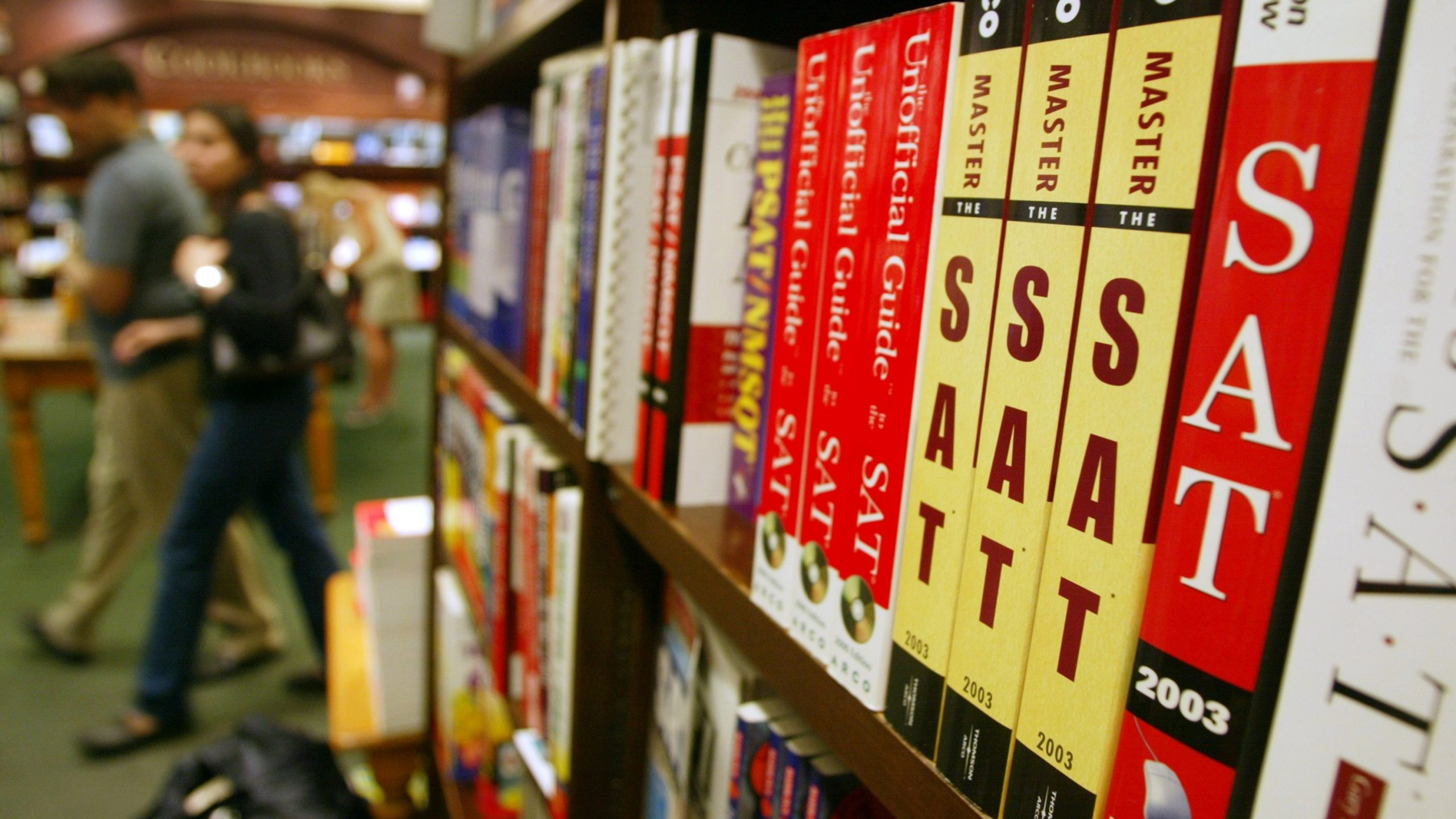 SAT test preparation books sit on a shelf at a Barnes and Noble store June 27, 2002 in New York City. (Credit: Mario Tama/Getty Images)