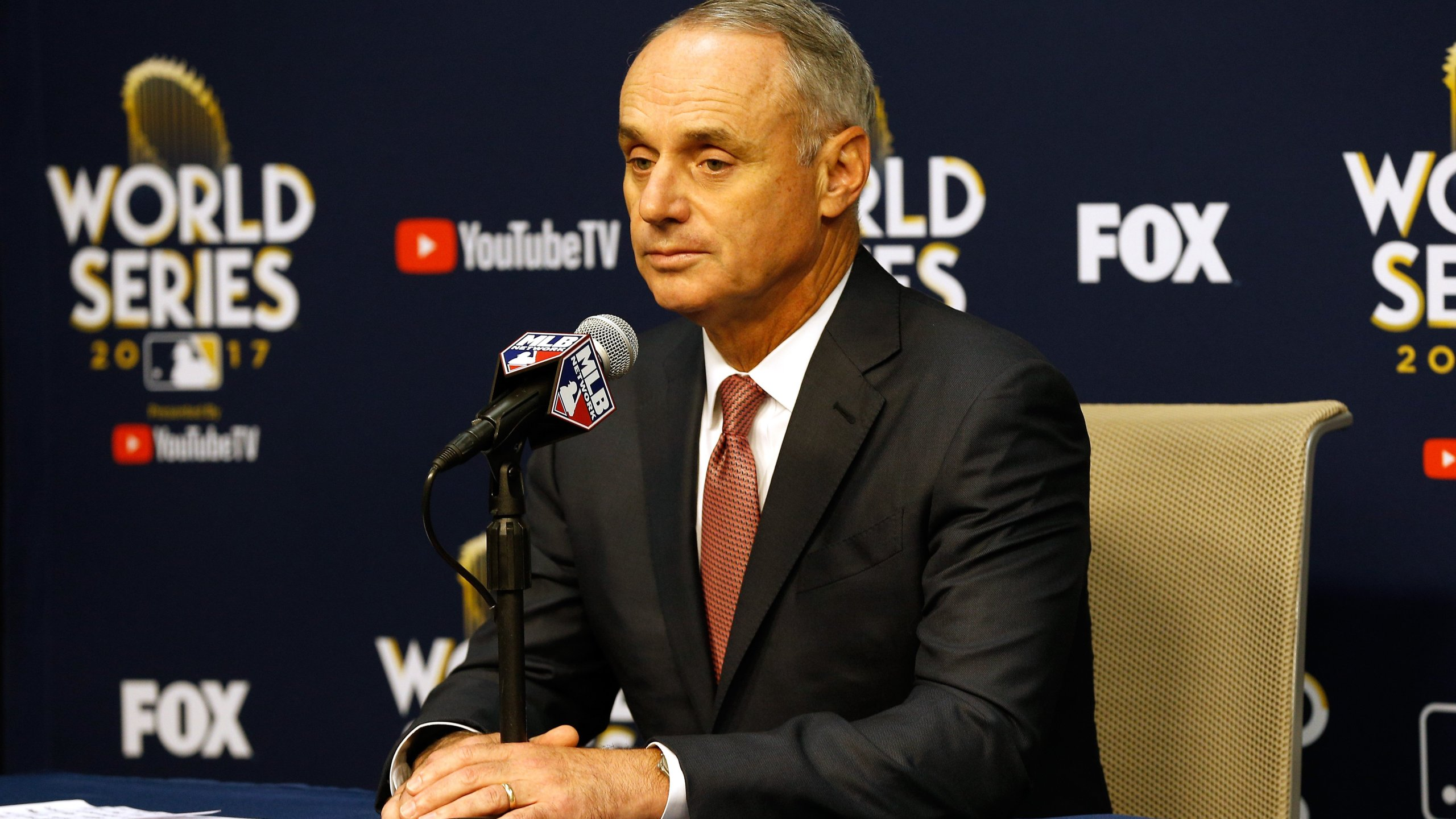 Major League Baseball Commissioner Robert D. Manfred Jr. speaks to the media during a press conference prior to game four of the 2017 World Series between the Houston Astros and the Los Angeles Dodgers at Minute Maid Park on October 28, 2017 in Houston. (Credit: Bob Levey/Getty Images)