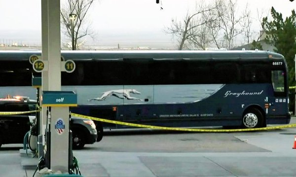 Authorities investigate a fatal shooting aboard a Greyhound Bus on Feb. 3, 2020. (Credit: KTLA)