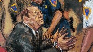 Harvey Weinstein is handcuffed in a Manhattan criminal courtroom following the guilty verdict in his sex assault case on Feb. 24, 2020. (Credit: Jane Rosenberg via CNN)