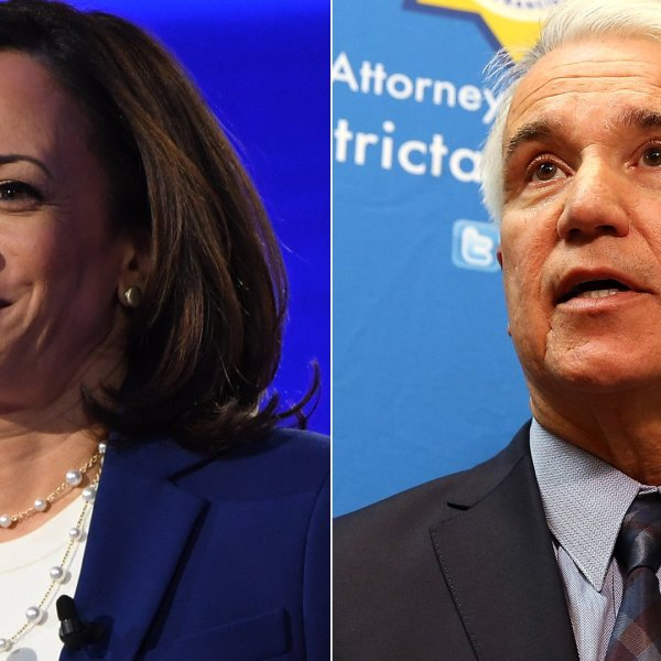 Kamala Harris, left, appears in a Democratic primary debate in Ohio on Oct. 15, 2019. George Gascon, right, speaks during a new conference on Dec. 9, 2014 in San Francisco. (SAUL LOEB / AFP via Getty Images; Justin Sullivan/Getty Images)