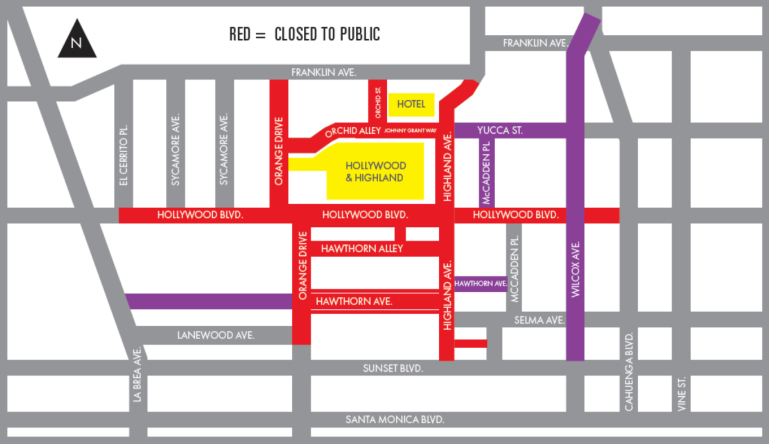 The Academy Awards released this map of street closures near the Dolby Theatre in Hollywood effective on Feb. 9 and 10, 2020.
