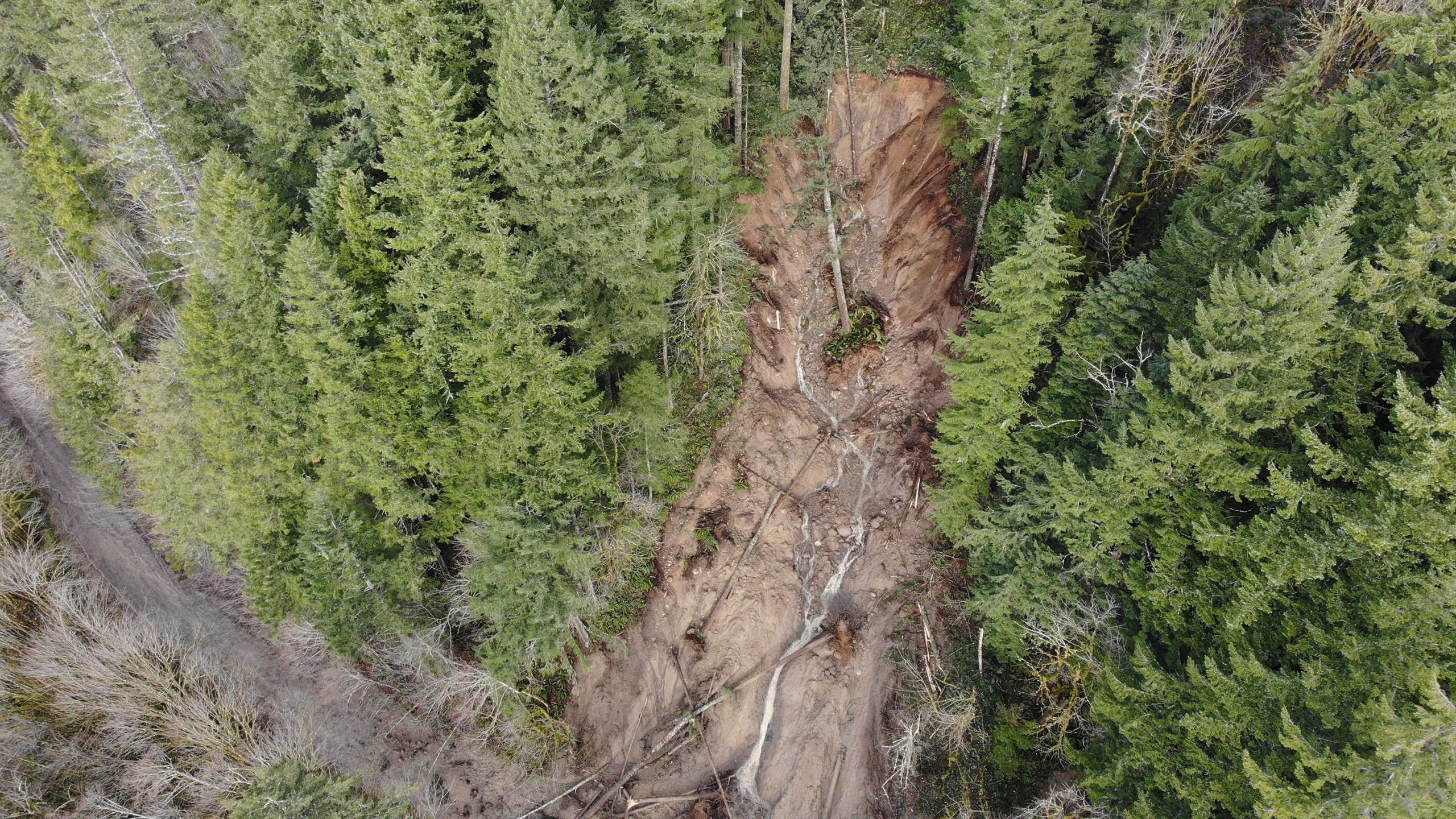 An aerial view of the debris blocking access to the park. (Credit: Washington State Department of Transportation)