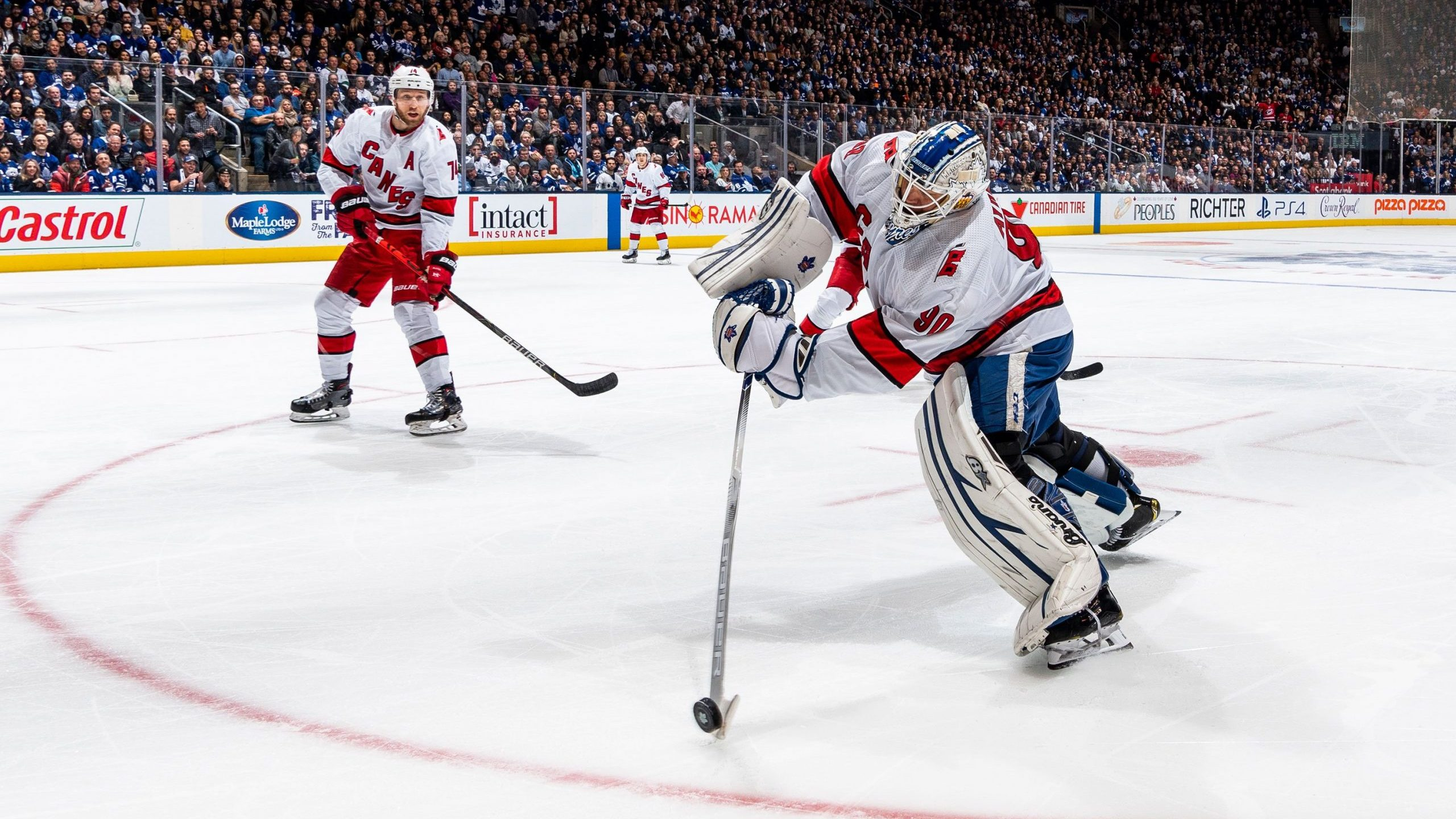 Dave Ayres of the Carolina Hurricanes plays the puck against the Toronto Maple Leafs during the second period at the Scotiabank Arena on Feb. 22, 2020 in Toronto, Ontario, Canada. (Credit: Kevin Sousa/NHLI via Getty Images)