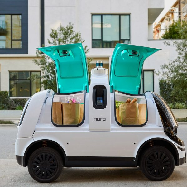 Nuro's R2 self-driving vehicle, which will begin delivering pizza and groceries in Houston, is seen in an undated photo. (Credit: Nuro via CNN)