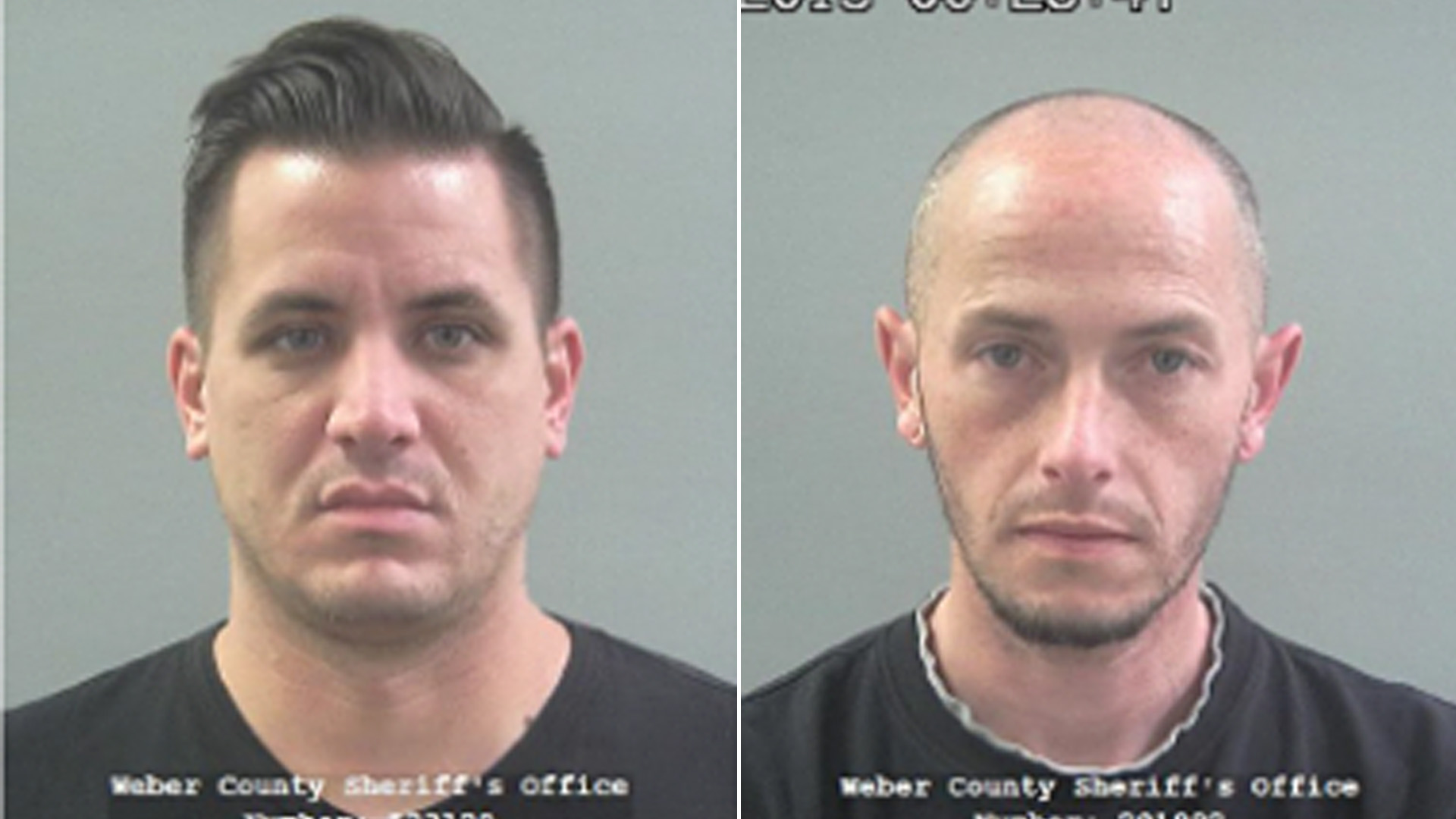 Kaleb Wiewandt, left, and Matthew Belnap are seen in booking photos released Feb. 25, 2020, by the Weber County Sheriff's Office.