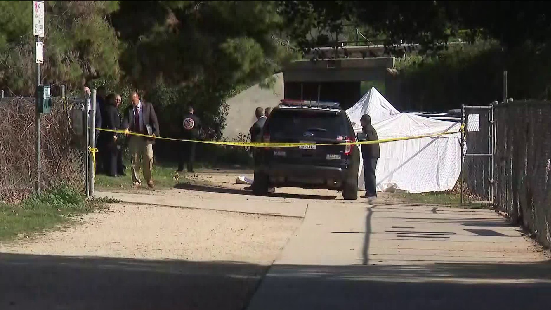 A shooting investigation was underway in Montecito Heights on Feb. 12, 2020. (Credit: KTLA)