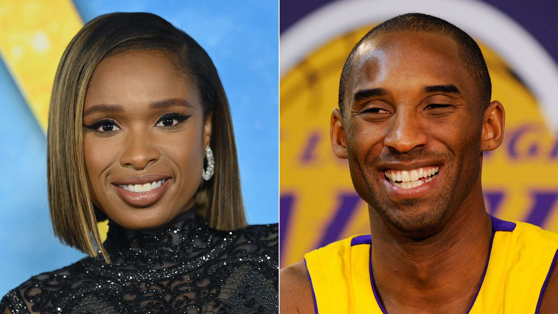 "Singer Jennifer Hudson, left, arrives for the premiere of ""Cats"" in New York City on Dec. 16, 2019. At right, Kobe Bryant smiles during Lakers media day in El Segundo on Sept. 29, 2009. (Credit: Angela Weiss / Kevork Djansezian / AFP / Getty Images)"