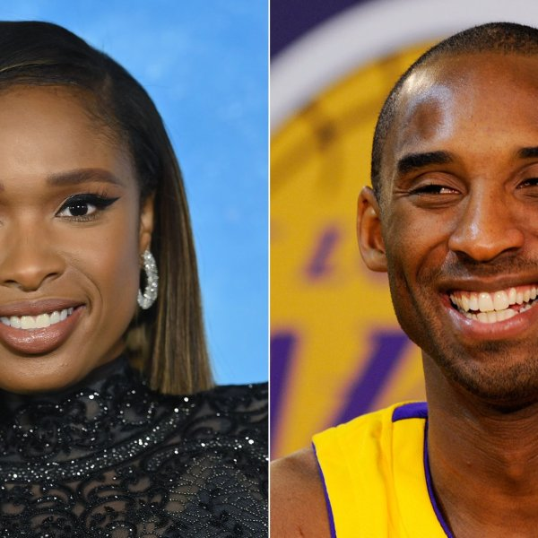 """Singer Jennifer Hudson, left, arrives for the premiere of """"Cats"""" in New York City on Dec. 16, 2019. At right, Kobe Bryant smiles during Lakers media day in El Segundo on Sept. 29, 2009. (Credit: Angela Weiss / Kevork Djansezian / AFP / Getty Images)"""