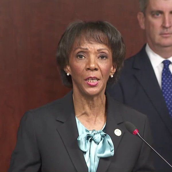 Los Angeles County District Attorney Jackie Lacey speaks during a news conference on Feb. 13, 2020. (Credit: KTLA)